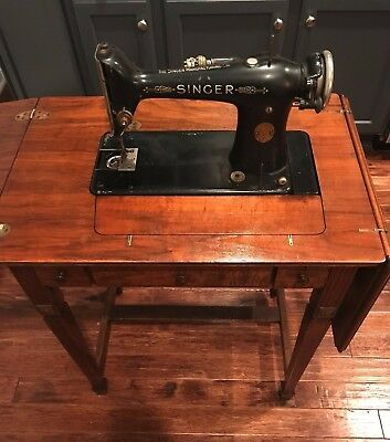 Vintage 1923 Singer Sewing Machine 101 in Deluxe Library Table cabinet! RARE!