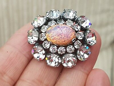 Old Vintage Jewellery Ornate Fire Opal Dragons Breath Cabochon Silver Brooch Pin