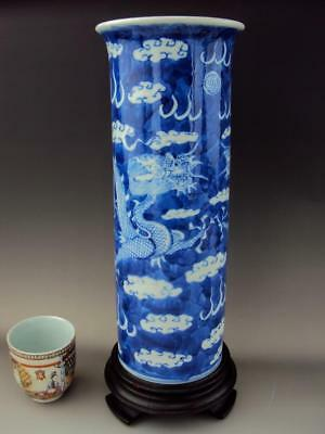 Impressive Chinese Porcelain Oriental Antiques Blue and White Sleeve Vase