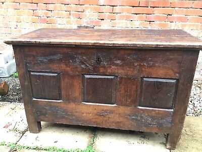 Antique 18Th Century French Panelled Oak Marriage Dowry Chest Coffer