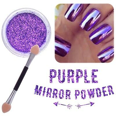New! PURPLE NAIL MIRROR POWDER PLATINUM Chrome Nails Shining Pigment (y7)