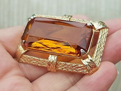 Vintage Jewellery Beautiful Faceted Art Deco Amber Agate Gold Brooch Shawl Pin