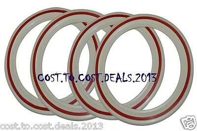 WHITE WALL RED STRIPE TYRE INSERTS 4 Pcs- 2 TYRE TIRE VESPA RIM 3.50X8""