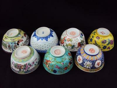 IMPRESSIVE  Collection Chinese Oriental Antiques Porcelain Famille Rose Bowls
