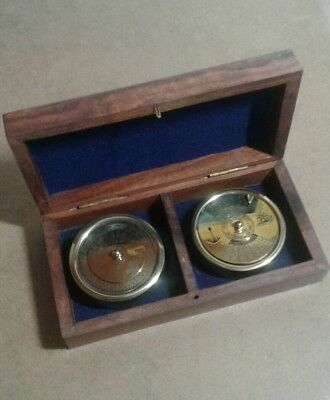 Ships perpetual calendar and world time calculator set , in wooden box, new.