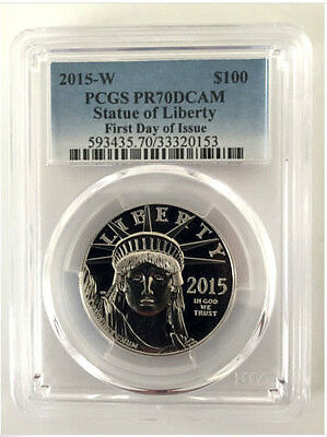 2015 W 1 OZ Platinum American Eagle Proof Coin PCGS PR 70 First Day of Issue!!!