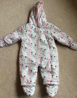 Mothercare flower pattern baby girl snowsuit pramsuit all in one 6-9 months