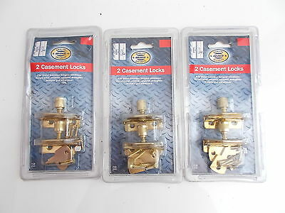 2 Casement Locks Brass Finish x3