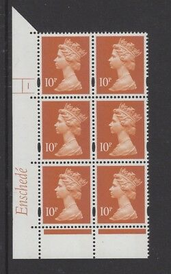 MACHIN  ENSCHEDE 10p  CYL  NO DOT BRIGHT YELLOW FLUOR BLOCK OF 6 MNH