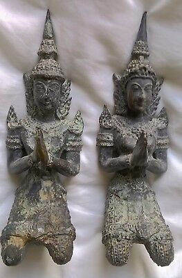 Two Bronze Asian 'Teppanom' Thai angel Figures