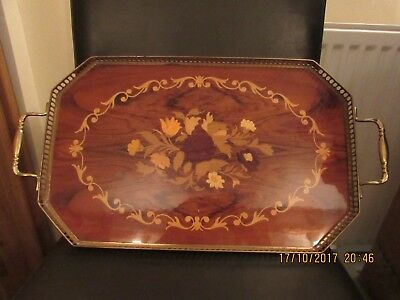Brass gallaried butlers tray with inlaid marquetry wood base