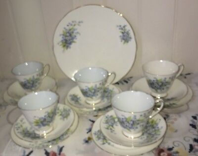 Stunning Vintage Old Royal Blue Floral Tea Set  19 Piece English bone china