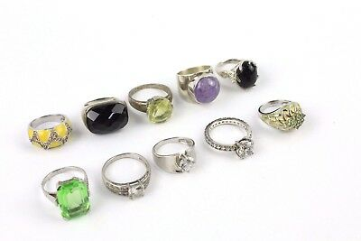 Lovely Collection of 12 x .925 STERLING SILVER Rings MIXED Styles and Sizes 56g