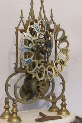 ANTIQUE ENGLISH FUSEE SKELETON CLOCK working but needs attention