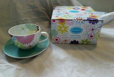 Portmeirion Large Cup And Saucer Set 20oz - New boxed - Crazy Daisy Pattern 🎁