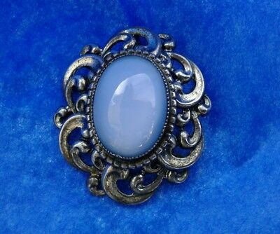Vintage Danecraft Sterling Silver Oval Gabochon Glass Stone  Pendant Pin Brooch