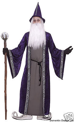 Mens Medieval Merlin Wizard Halloween Costume Outfit Robe & Hat Magician NEW 42""
