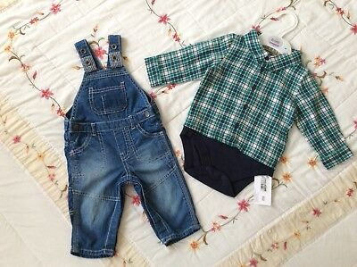 Baby Boys 3-6 mths Outfit BNWT M&S Shirt/ Body-Suit plus F+F Dungarees