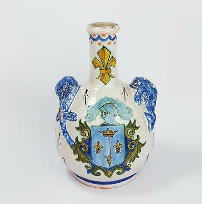 Antique CONTINENTAL FAIENCE CRESTED BOTTLE VASE c1930