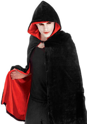 Adult Hooded Black Cape Cloak Halloween Red Lined Vampire Fancy Dress Costume