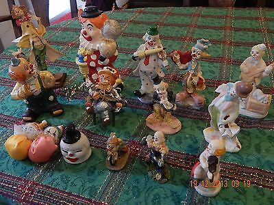 Lot of 15 CLOWN FIGURINES~Assorted Sizes