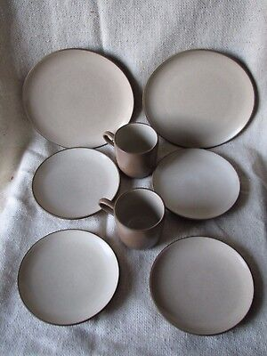 8 Piece Vintage MCM Edith HEATH Ceramics POTTERY plates and cups