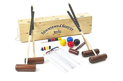 Townsend Croquet Set - 4 Player Full Size Adult Set in a Pine Wood Storage Box