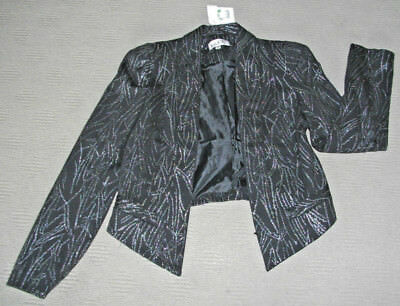 i.d.s: Size: 8. Stylish Black/Silver Slimming Print Fully Lined L/Sleeve Jacket