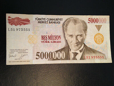 Turkey banknote 5000000 Lira 1997 !!!!!