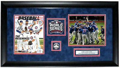Kris Bryant & Anthony Rizzo Autographed Si & World Series Photo Fanatics Framed