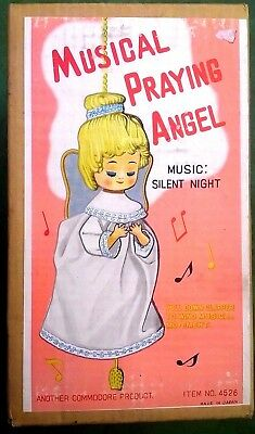Vintage Musical Praying Blonde Angel Silent Night Commodore In Box