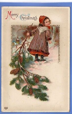 Old Vintage  Postcard Christmas Xmas Noel Young Girl Pine Cones Snow Scene
