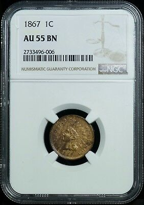 NGC 1867 AU 55 BN Indian Head One Cent 1C Coin
