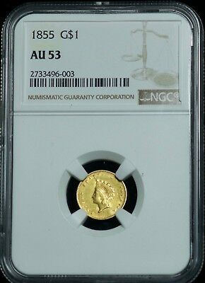 NGC 1855 AU53 Indian Princess Head G$1 Gold One Dollar Coin