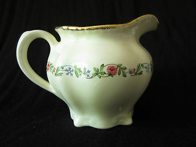 Ridgways vintage creamer hand-painted rose pattern 22 kt gold trim Staffordshire