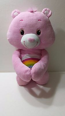 Large Pink Rainbow Cheer Care Bear With Heart Hands 18 inches Hasbro 2012