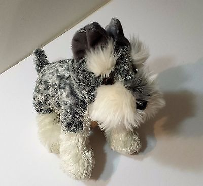 Aurora Plush Dog Stuffed Animal Soft Child Toy Schnauzer Terrier White and Grey