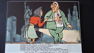 CYPRUS Social History POSTCARD : CYPRUS TO MR. DULLES << Where is Liberty?>>