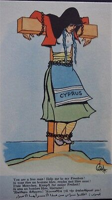 """CYPRUS Social History POSTCARD : You are free man ! Help me to my Freedom ! 50""""s"""