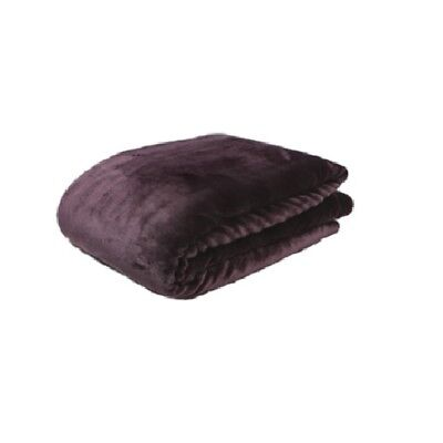 Malini soft cosy throw in aubergine, two sides sheepskin and velvet 150 x 200cm