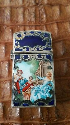 Vintage  Italian Engraved 800 Silver Double Sided Enamel painted image 1930s