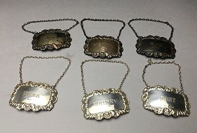 Lot Of Six English Sterling Silver Liquor Labels