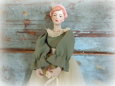 vintage ballerina doll with stand victorian style porcelain doll ornament