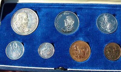 1968 South Africa Proof Set English Legend  Rainbow toning 1 cent SILVER rand