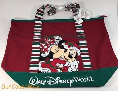 Walt Disney World Christmas Canvas Tote Bag Mickey and Minnie Red