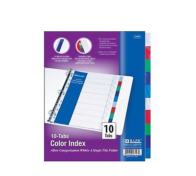 BAZIC 3-Ring Binder Dividers with 10 Color Tabs White/Red/Green/Blue 1 - NEW