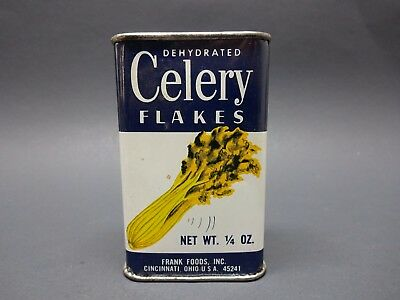Vintage Celery Flakes Spice Tin Frank Foods Ohio 1/4 Oz With Lid