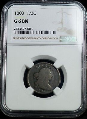 NGC 1803 G 6 BN Draped Bust Half Cent 1/2C Coin