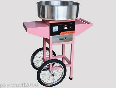 1050W Electric Commercial Cotton Candy Maker Fairy Floss Machine Stainless Steel