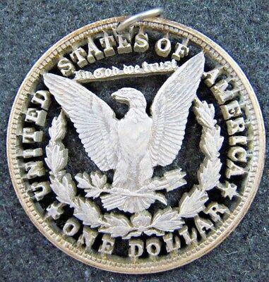 Cutout Vintage Morgan Silver Dollar Reverse with Letters Jewelry Necklace Coin
